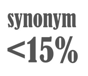 synonym < 15%