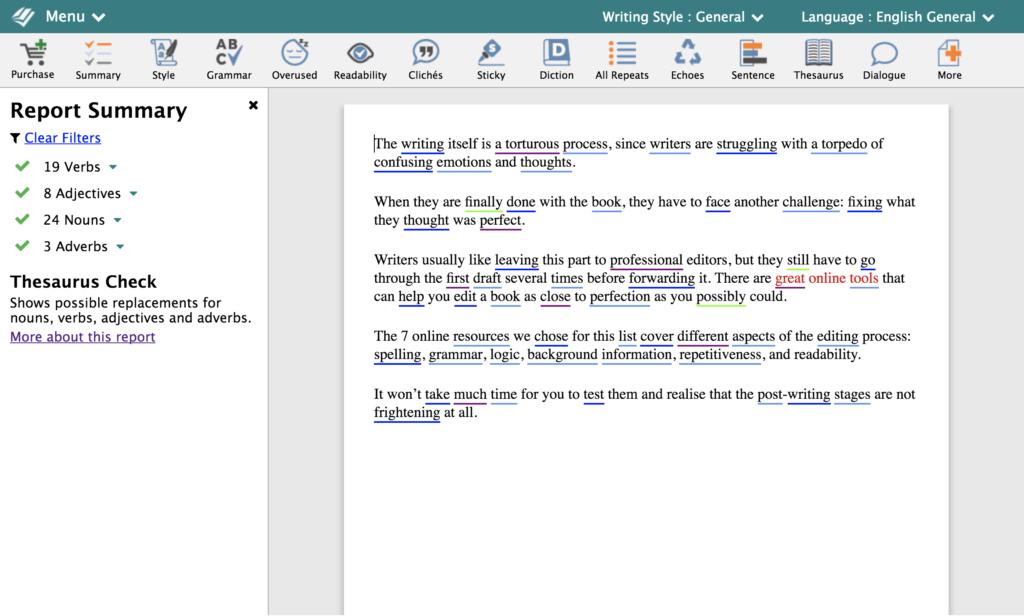 prowritingaid同義語分析の例