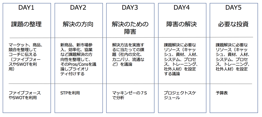 5 days workshop schedule