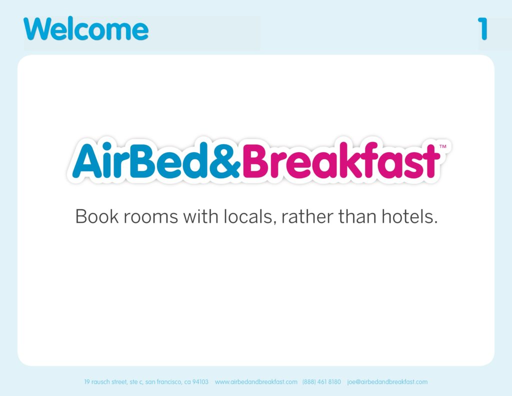 Airbnb Pitchdeck page 1